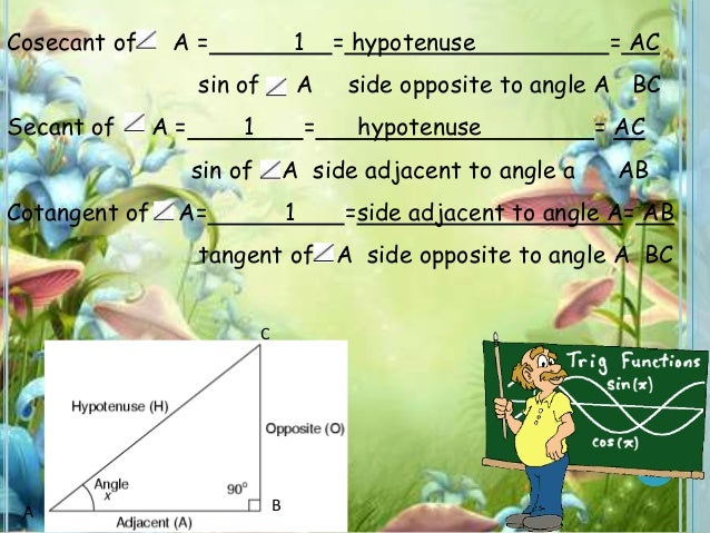 Cosecant of A = 1 = hypotenuse = AC sin of A side opposite to angle A BC Secant of A = 1 = hypotenuse = AC sin of A side a...