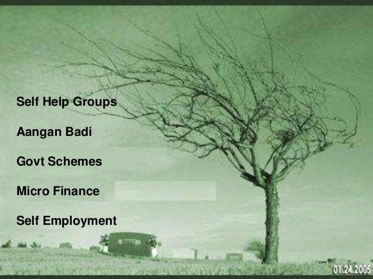 Self Help GroupsAangan BadiGovt SchemesMicro FinanceSelf Employment