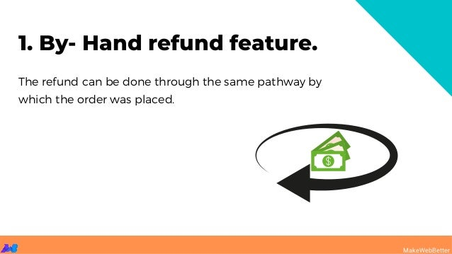 The refund can be done through the same pathway by which the order was placed. 1. By- Hand refund feature. MakeWebBetter