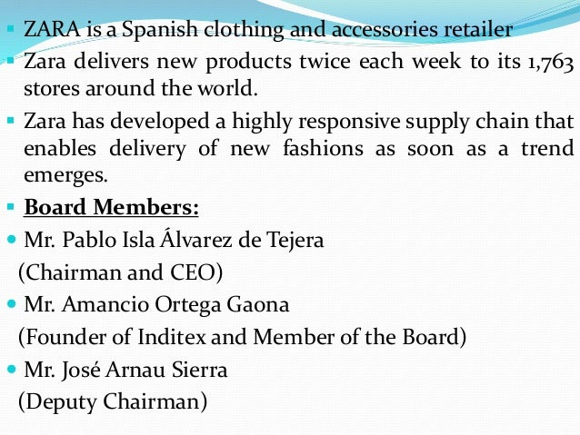 how zara fashions its supply chain Supply chain management of zara  vertically integrated supply chain in spain, 200 fashion designers are in charge of new designs for the clothing line they select .