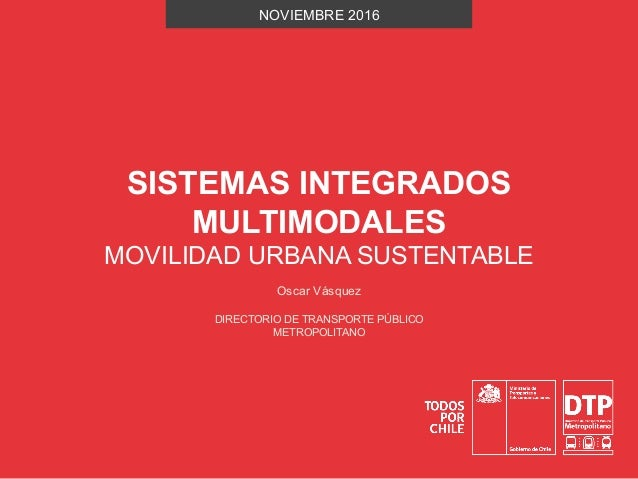 SISTEMAS INTEGRADOS MULTIMODALES MOVILIDAD URBANA SUSTENTABLE NOVIEMBRE 2016 DIRECTORIO DE TRANSPORTE PÚBLICO METROPOLITAN...