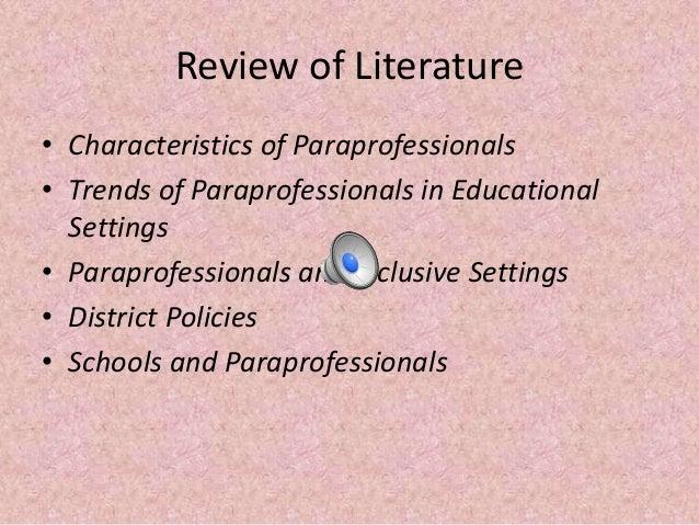 Paraprofessionals in the schools