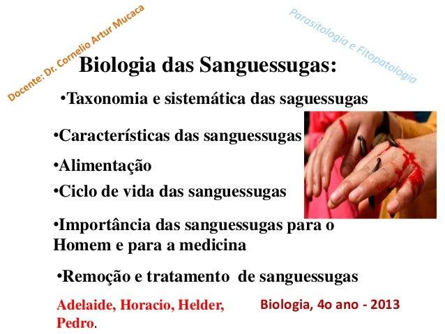 Biologia das Sanguessugas:•Taxonomia e sistemática das saguessugas•Características das sanguessugas•Alimentação•Ciclo de v...