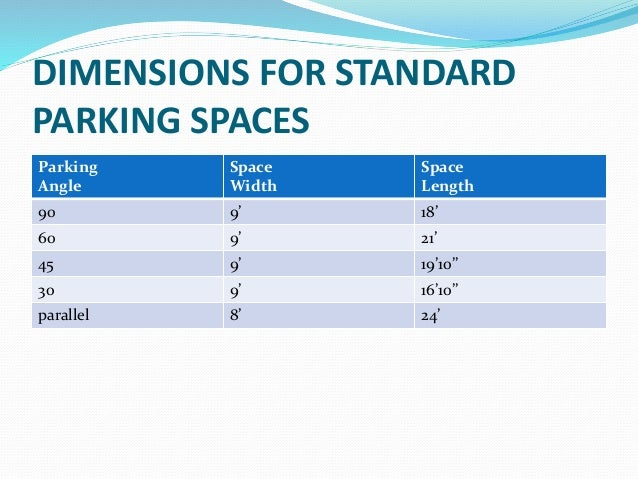 Parking Lot Characteristics. vehicle parking