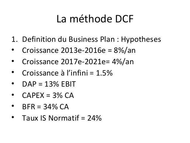 La méthode DCF1.   Definition du Business Plan : Hypotheses•    Croissance 2013e-2016e = 8%/an•    Croissance 2017e-2021e=...