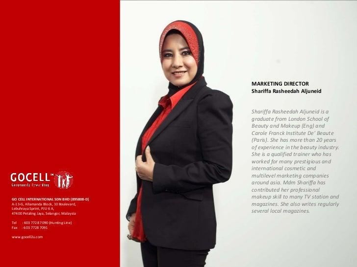 MARKETING DIRECTOR Shariffa Rasheedah Aljuneid  Shariffa Rasheedah Aljuneid is a graduate from London School of Beauty an...