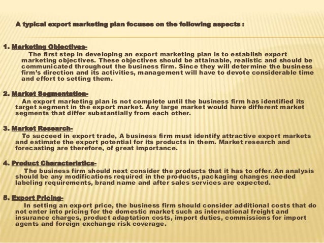 role of export marketing in international trade strategy 12 a typical export marketing plan