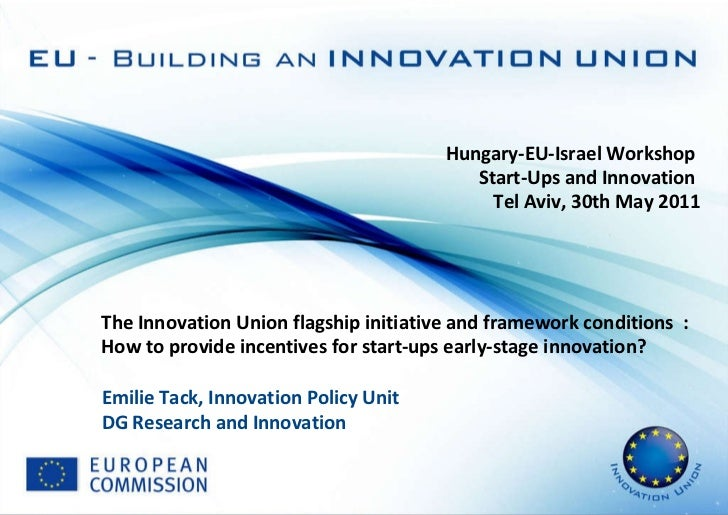 Hungary-EU-Israel Workshop  Start-Ups and Innovation  Tel Aviv, 30th May 2011 The Innovation Union flagship initiative and...