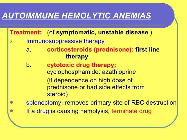 hemolytic anemia steroid therapy