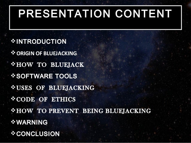 """introduction to bluejacking Introduction bluetooth is a  bluejacking, for example, is a simple  exploitation of the  this may be perhaps as a result of bluejacking """"t630 go  away""""."""