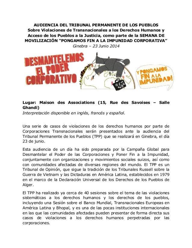 AUDIENCIA DEL TRIBUNAL PERMANENTE DE LOS PUEBLOS Sobre Violaciones de Transnacionales a los Derechos Humanos y Acceso de l...
