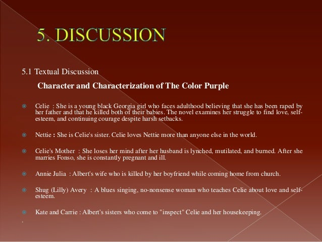 analysis essay on the color purple The color purple won the american book award and the pulitzer prize in fiction in 1983 alice walker's novel is unique in its preoccupation with.