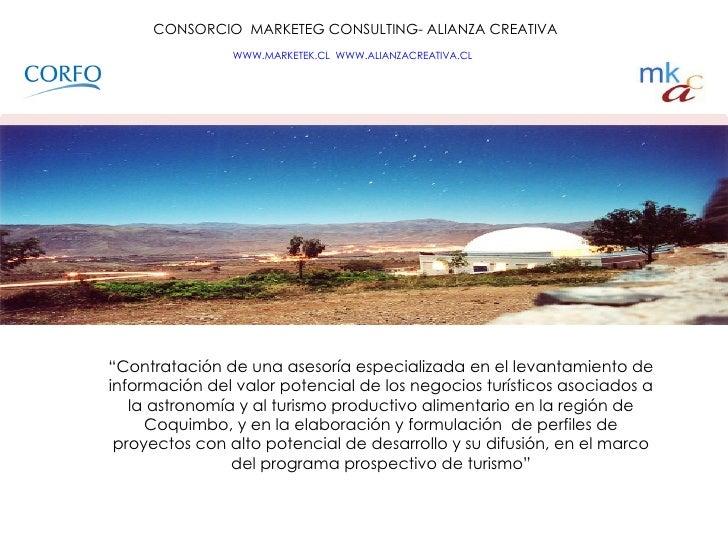 """CONSORCIO  MARKETEG CONSULTING- ALIANZA CREATIVA WWW.MARKETEK.CL   WWW.ALIANZACREATIVA.CL   """" Contratación de una asesor..."""