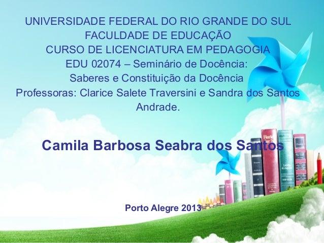 UNIVERSIDADE FEDERAL DO RIO GRANDE DO SUL FACULDADE DE EDUCAÇÃO CURSO DE LICENCIATURA EM PEDAGOGIA EDU 02074 – Seminário d...