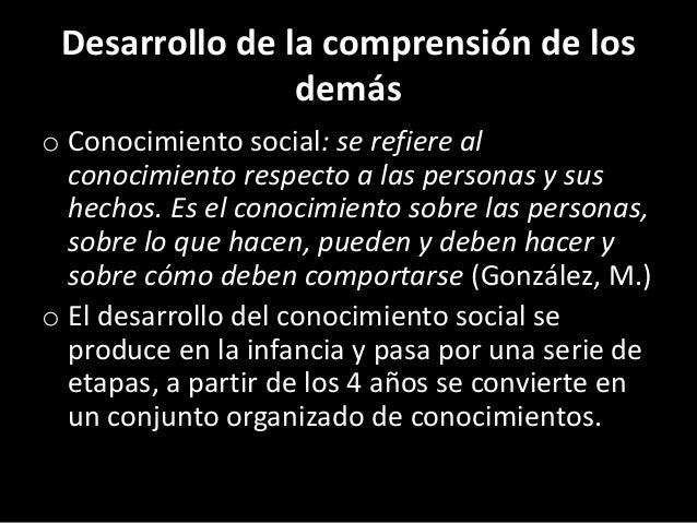 Desarrollo de la comprensión de los demás o Conocimiento social: se refiere al conocimiento respecto a las personas y sus ...