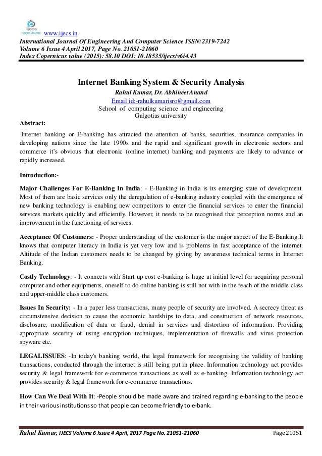 INTERNET BANKING & SECURITY ANALYSIS