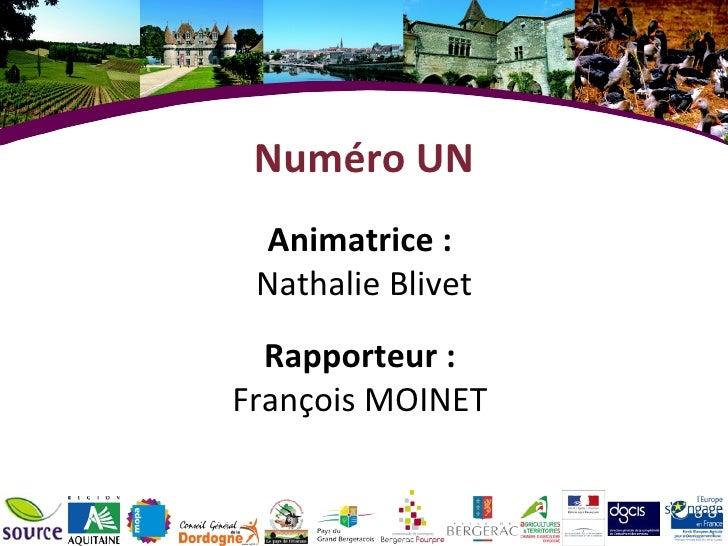 Numéro UN Animatrice :  Nathalie Blivet Rapporteur :  François MOINET
