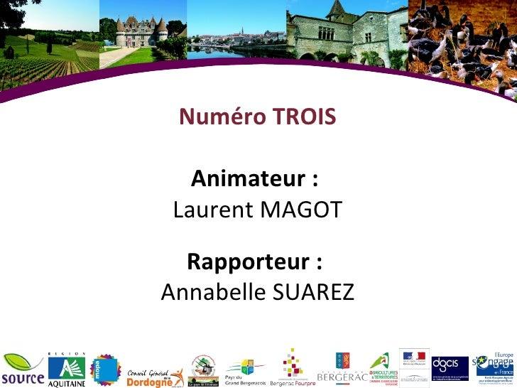 Numéro TROIS Animateur :  Laurent MAGOT Rapporteur :  Annabelle SUAREZ