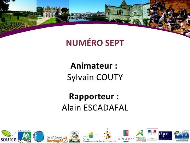 NUMÉRO SEPT Animateur :  Sylvain COUTY Rapporteur :  Alain ESCADAFAL