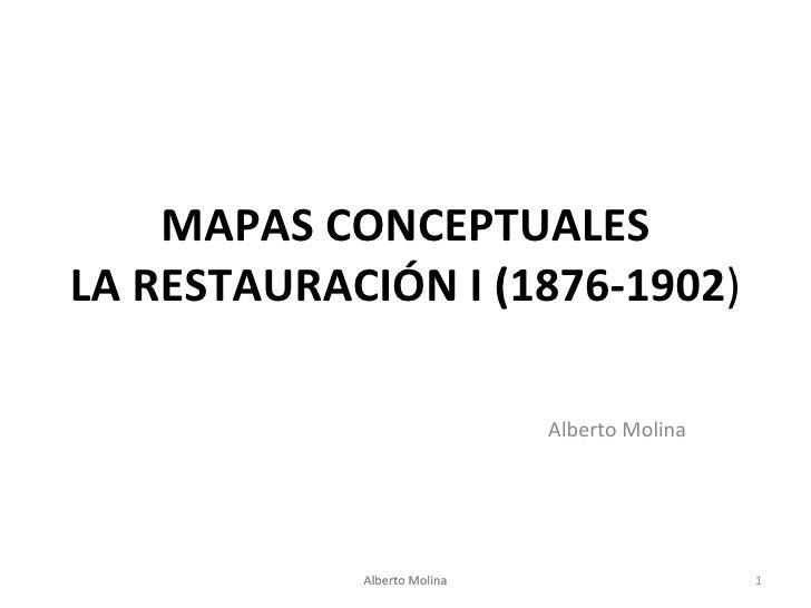 MAPAS CONCEPTUALES LA RESTAURACIÓN I (1876-1902 ) Alberto Molina Alberto Molina Alberto Molina