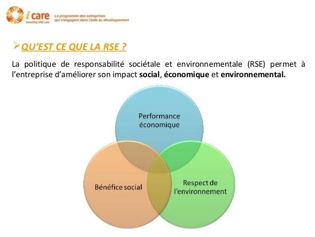 QU'EST CE QUE LA RSE ? La politique de responsabilité sociétale et environnementale (RSE) permet à l'entreprise d'amélior...