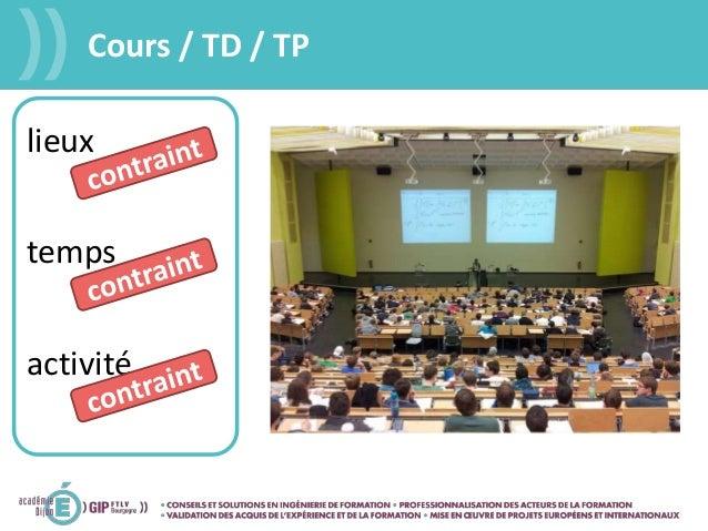 Cours / TD / TP lieux temps activité