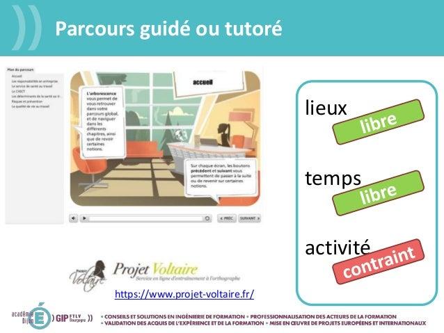Parcours guidé ou tutoré lieux temps activité https://www.projet-voltaire.fr/