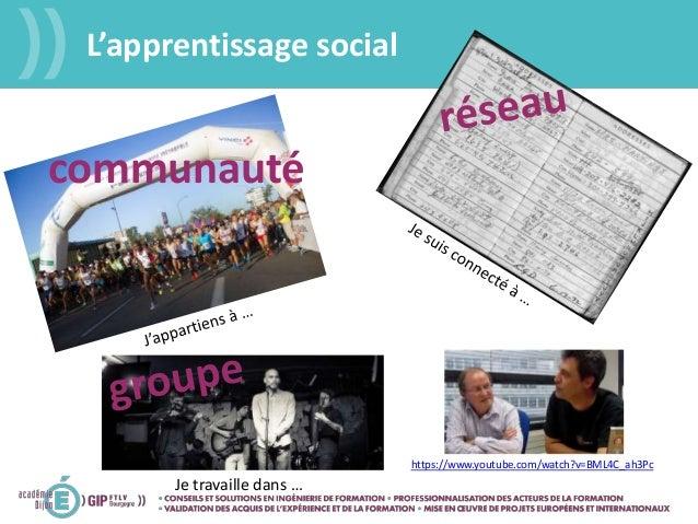 L'apprentissage social communauté Je travaille dans … https://www.youtube.com/watch?v=BML4C_ah3Pc