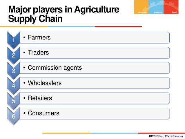 Major players in Agriculture Supply Chain 1  • Farmers  2  • Traders  3  • Commission agents  4  • Wholesalers  5  • Retai...