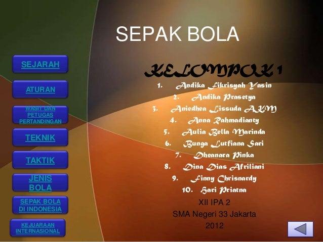 SEPAK BOLA SEJARAH                  KELOMPOK 1                   1.     Andika Fikrisyah Yasin  ATURAN                    ...