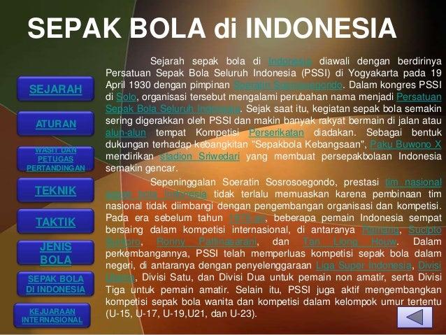 SEPAK BOLA di INDONESIA                           Sejarah sepak bola di Indonesia diawali dengan berdirinya               ...