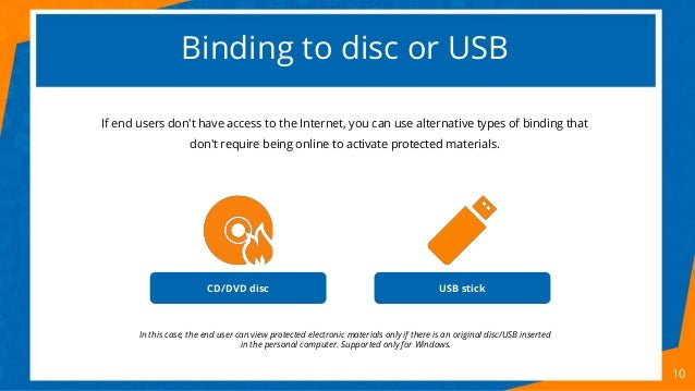 Binding to disc or USB 10 If end users don't have access to the Internet, you can use alternative types of binding that do...