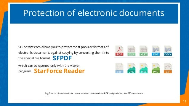 Protection of electronic documents 11 SFContent.com allows you to protect most popular formats of electronic documents aga...
