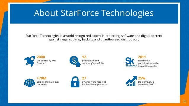 About StarForce Technologies StarForce Technologies is a world recognized expert in protecting software and digital conten...
