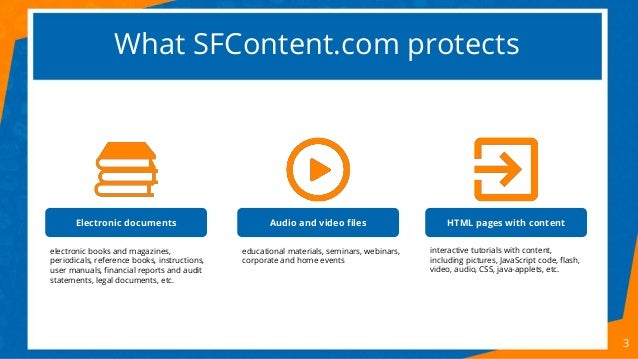 What SFContent.com protects 3 Electronic documents Audio and video files HTML pages with content electronic books and maga...
