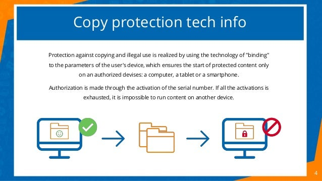 """Copy protection tech info 4 Protection against copying and illegal use is realized by using the technology of """"binding"""" to..."""