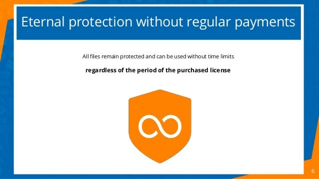 Eternal protection without regular payments 6 All files remain protected and can be used without time limits regardless of...