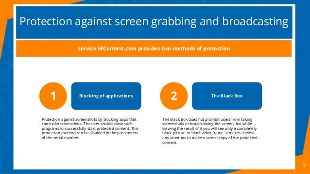 Protection against screen grabbing and broadcasting 7 1 Blocking of applications Protection against screenshots by blockin...