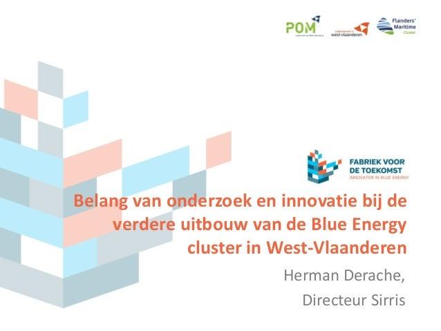 Belang van onderzoek en innovatie bij de verdere uitbouw van de Blue Energy cluster in West-Vlaanderen Herman Derache, Dir...