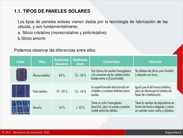 Sistemas de energ a fotovoltaica - Tipos de paneles solares ...