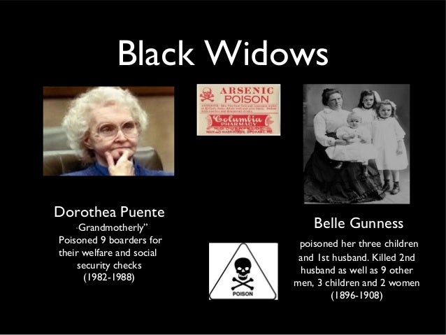 Black WidowsBelle Gunnesspoisoned her three childrenand 1st husband. Killed 2ndhusband as well as 9 othermen, 3 children a...
