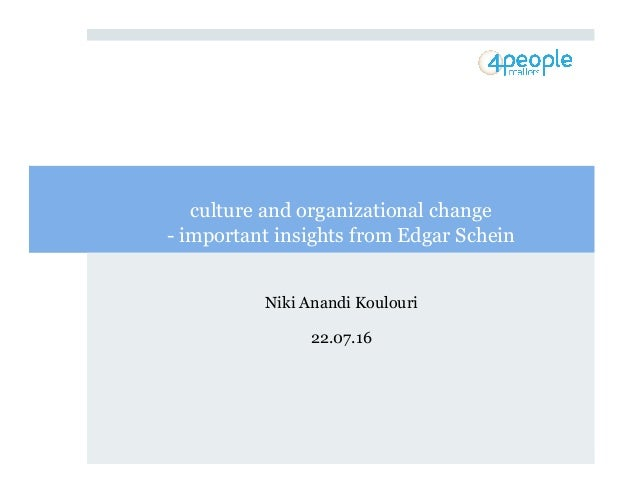 ! culture and organizational change - important insights from Edgar Schein Niki Anandi Koulouri 22.07.16