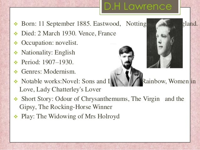 the themes and symbols of d h lawrence in snake The snake represents the upper class while he, dh lawrence, is just a middle class worker in stanza's 1 and 2, lawrence begins by describing that the snake arrived at the trough first and that he therefore must await his turn.