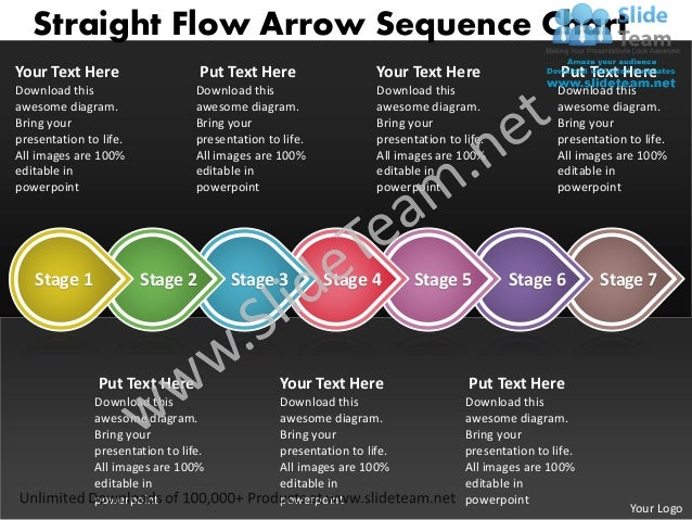 Ppt straight flow arrow sequence family tree chart powerpoint 2003 bu…