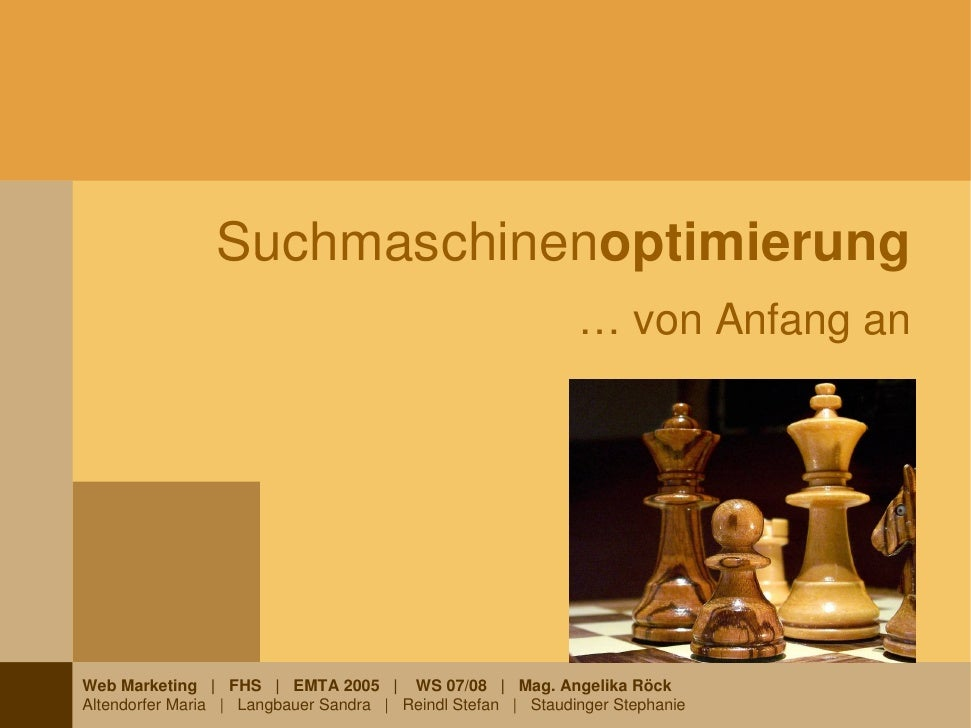 Suchmaschinenoptimierung                                                              … von Anfang an     Web Marketing | ...