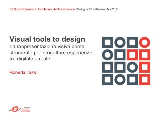 Visual tools to design La rappresentazione visiva come strumento per progettare esperienze, tra digitale e reale Roberta T...