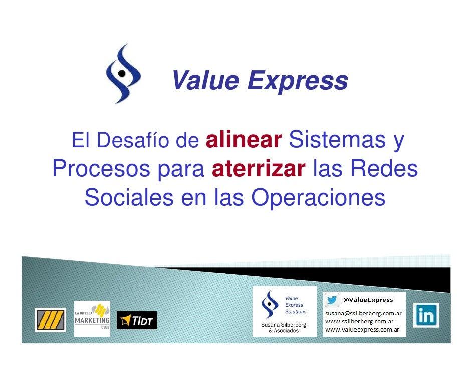 Value Express El Desafío de alinear Sistemas yProcesos para aterrizar las Redes   Sociales en las Operaciones
