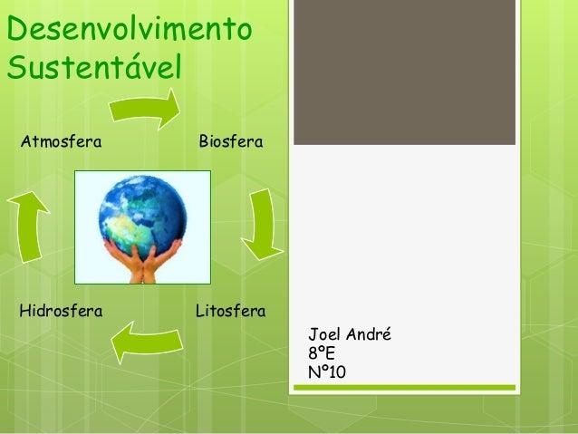 DesenvolvimentoSustentávelAtmosfera    BiosferaHidrosfera   Litosfera                         Joel André                  ...