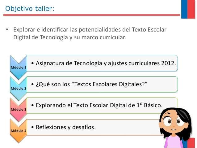 Objetivo taller: • Explorar e identificar las potencialidades del Texto Escolar Digital de Tecnología y su marco curricula...