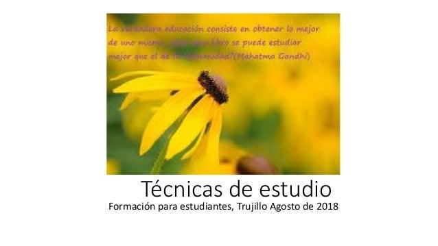 Técnicas de estudio Formación para estudiantes, Trujillo Agosto de 2018